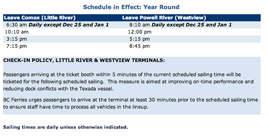 Powell River - Comox Ferry Schedule
